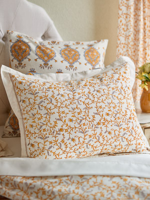 Gardens of Versailles ~ Yellow Grey Floral White Pillow Sham