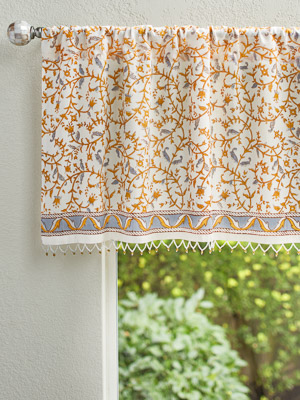 Gardens of Versailles ~ Yellow Gold Floral White Beaded Valance