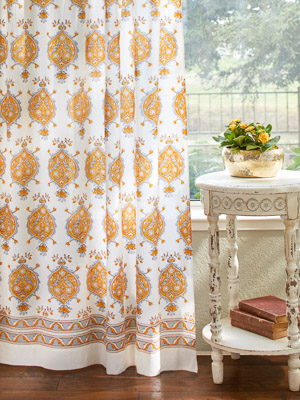 Versailles ~ Yellow Grey Medallion Fleur de Lis White Curtain