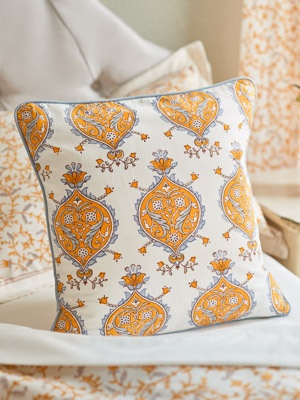 Versailles ~ Yellow and Grey Medallion White Throw Pillow Cover