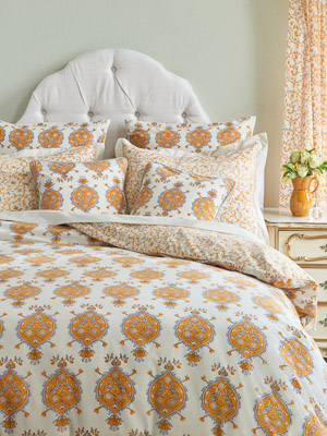Versailles ~ French Yellow and Grey Medallion White Duvet Cover