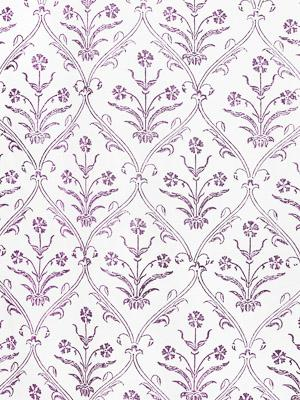 Victorian Lilac Ivory ~ Floral Purple and White Fabric Swatch