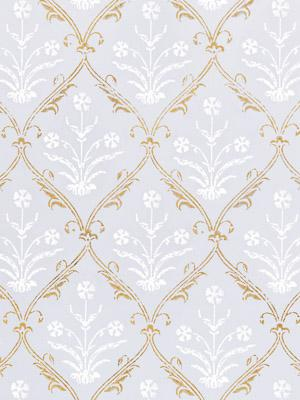 Victorian Lilac Ivory and Gold ~ Gold and White Fabric Swatch