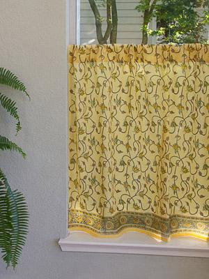Waltz of the Vines ~ Yellow Floral Summer Beach Kitchen Curtain