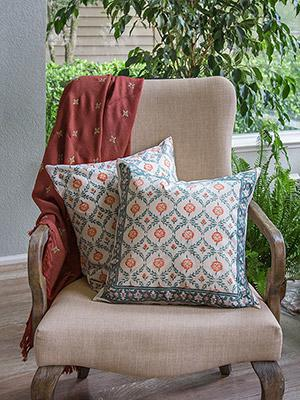 Wild Poppies (CP) ~ Blue-Green Leaf Trellis Toss Cushion Cover