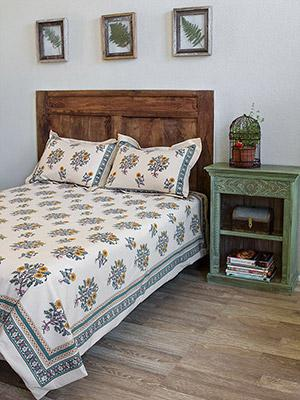 Wild Poppies ~ French Country Botanical Cream Bedspread