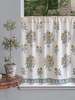Wild Poppies ~ Botanical French Country Sheer Kitchen Curtain