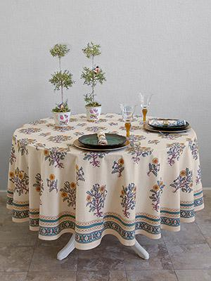 Wild Poppies ~ French Country Yellow Botanical Round Tablecloth