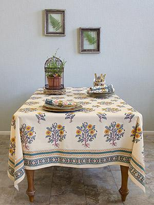 Wild Poppies ~ French Country Orange Yellow Botanical Tablecloth