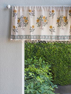 Wild Poppies ~ Botanical French Country Beaded Window Valance
