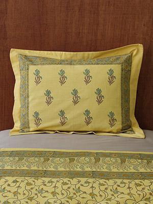 Waltz of the Vines (CP) ~ Yellow Floral Summer Beach Pillow Sham