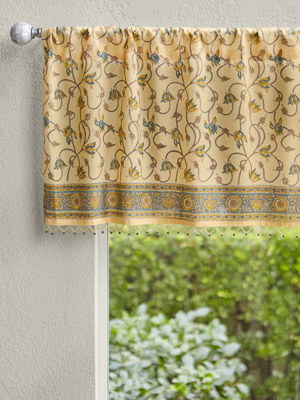 Waltz of the Vines ~ Yellow Floral Summer Beach Window Valance