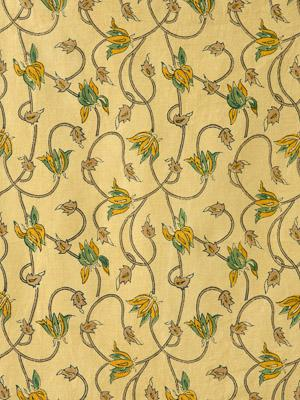 Waltz of the Vines ~ Floral Yellow Fabric Swatch with Vines