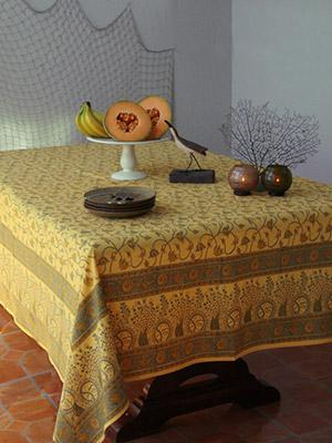 Waltz of the Vines~ Yellow Floral Summer Cotton Beach Tablecloth