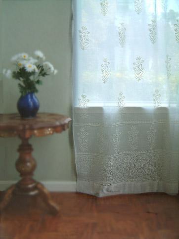 white cotton window treatment