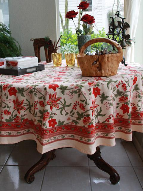 Floral Country Tablecloth, Tropical Tablecloth, 90 Round Tablecloth, 70 Round  Tablecloths | Saffron Marigold