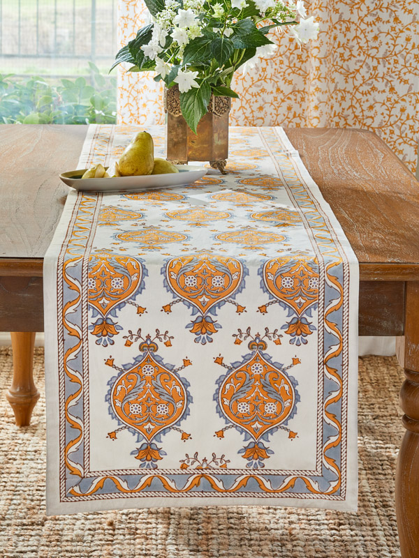 elegant yellow and grey and white table runner with medallions
