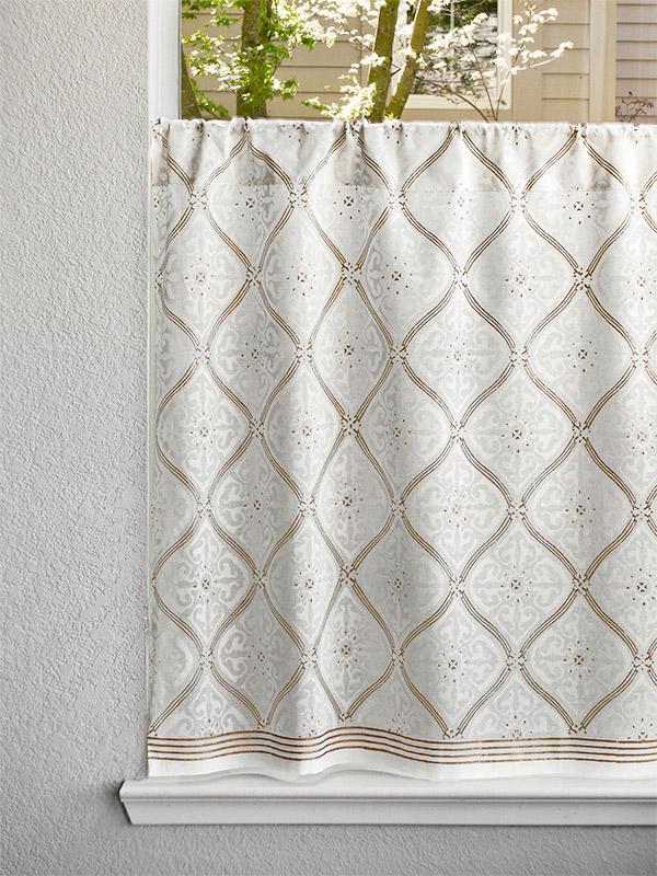 White Gold Kitchen Curtains Elegant