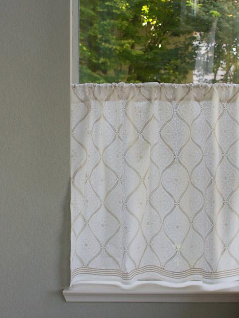 White on white kitchen curtain, White and Gold Kitchen tier curtains ...