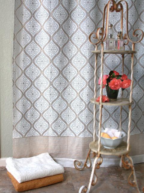 White And Gold Shower Curtain Elegant Romantic Saffron