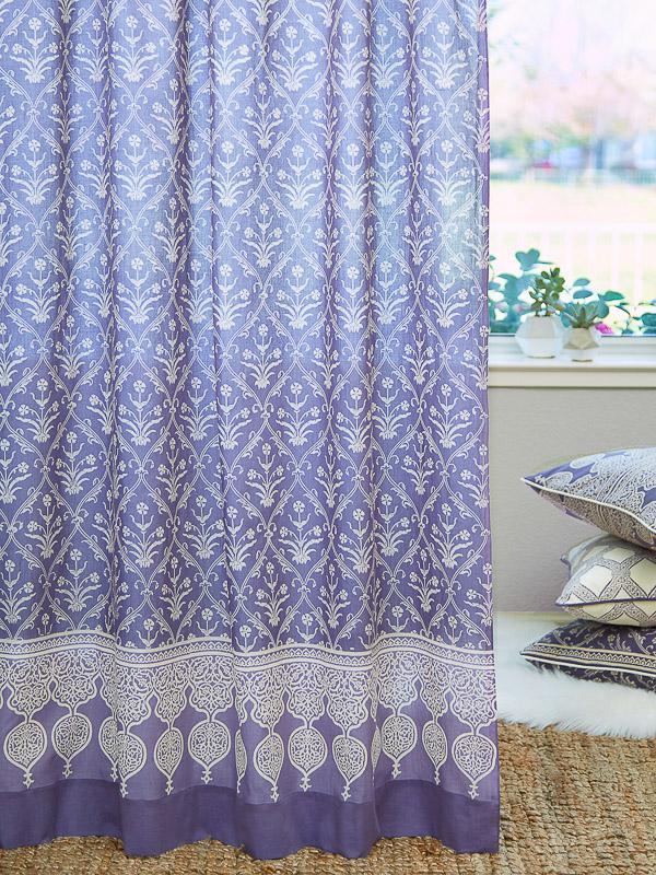 Purple Curtain Panel Floral Boho Lavendar Saffron