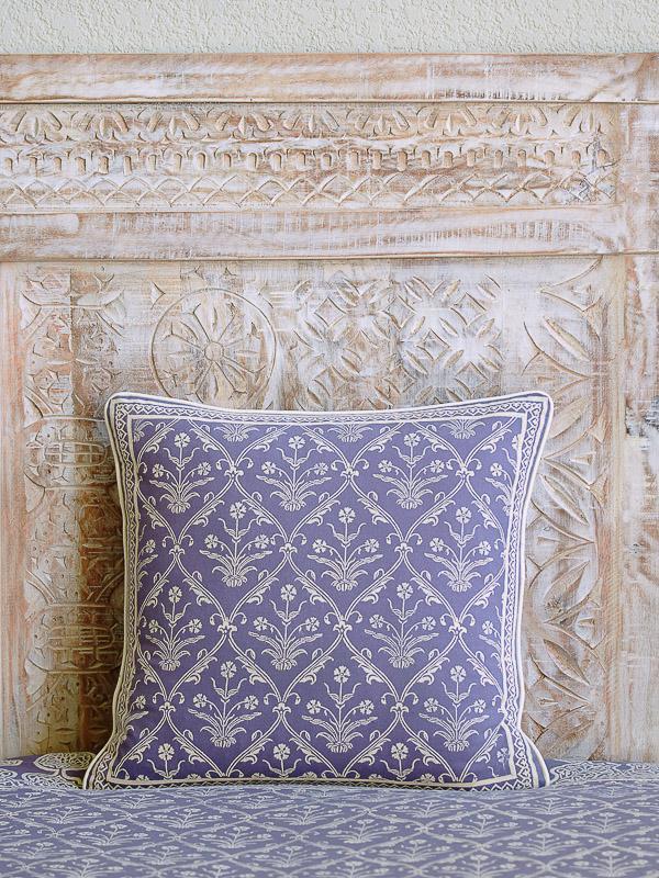 Purple Throw Pillow Cover Floral Boho Saffron Marigold