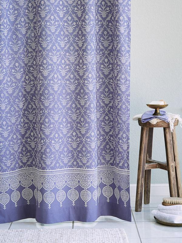 Purple Shower Curtain Floral Boho Saffron Marigold