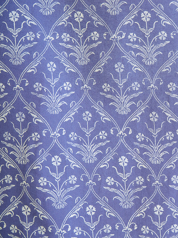 Purple Fabric Swatch White Floral Bohemian Saffron Marigold