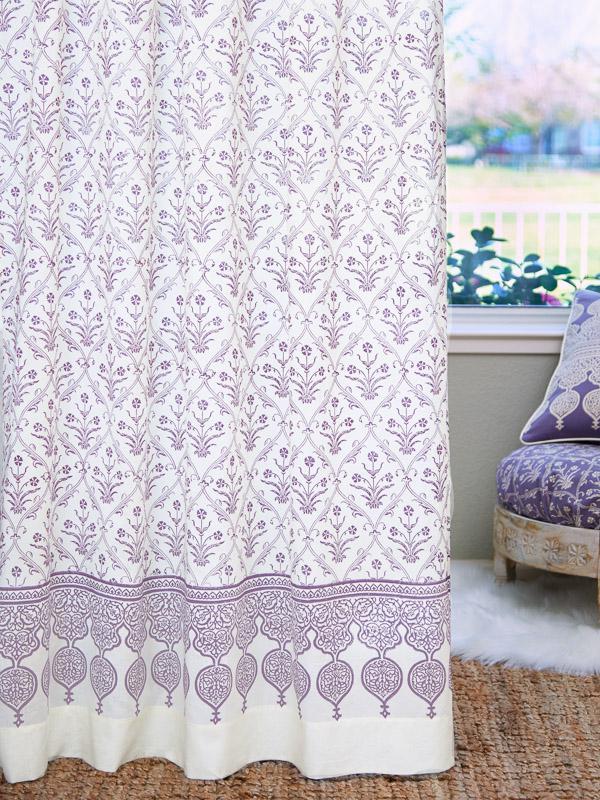 White Curtain Purple Floral Boho Ivory Saffron Marigold