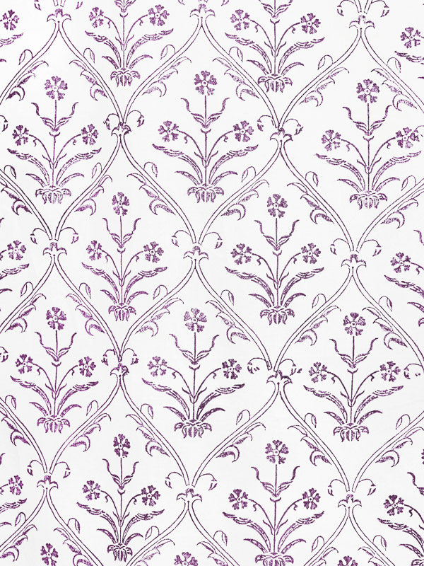 White Fabric Swatch Purple Floral Ivory Saffron Marigold