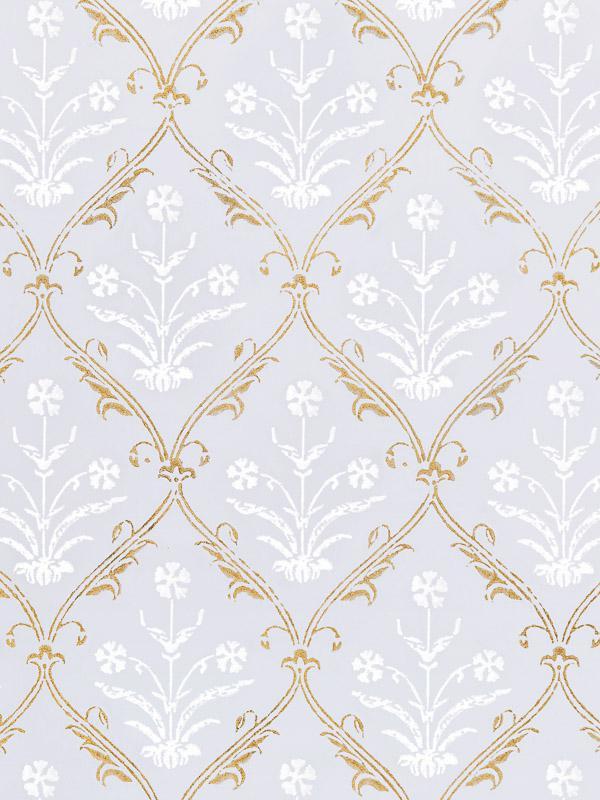 White Fabric Swatch Lilac Gold Floral Saffron Marigold