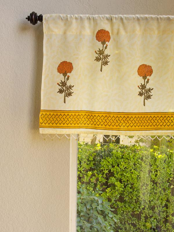 Yellow Floral Country Beaded Fabric Kitchen Window Valance Saffron Marigold