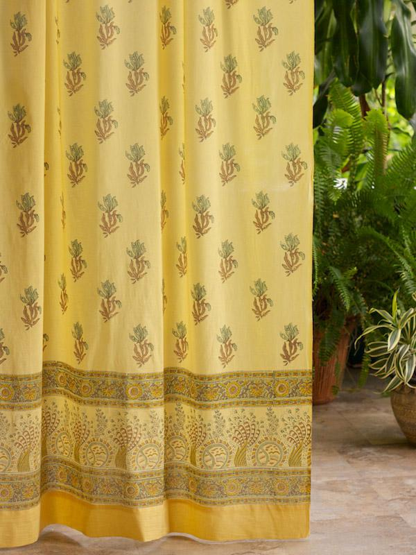 Waltz of the Vines (CP) ~ Yellow Floral Summer Curtain Panel