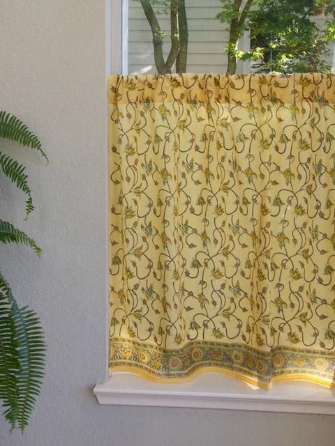 Coastal Floral Yellow Kitchen Curtains Saffron Marigold