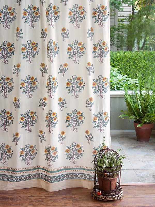 Floral Curtain Panel French Cream Saffron Marigold