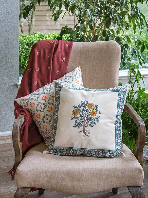 Wild Poppies French Country Yellow Floral Throw Cushion
