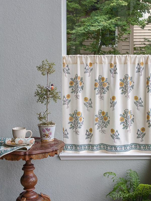 French Kitchen Curtain Floral Country Saffron Marigold