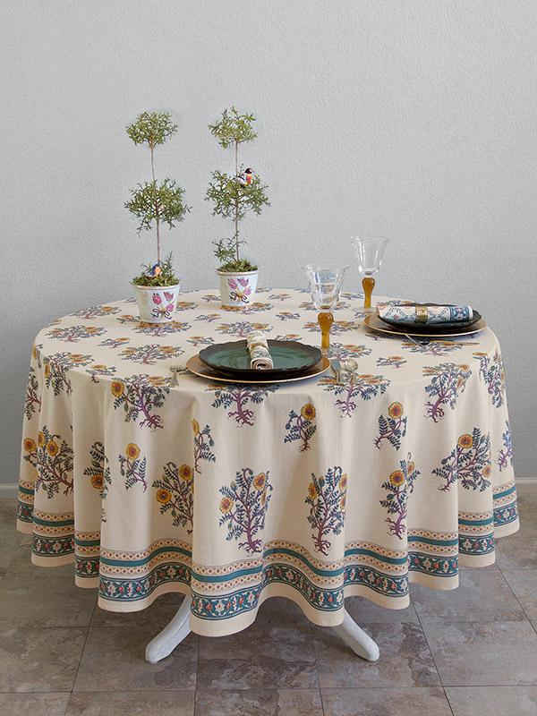 Wild Poppies ~ French Country Yellow Botanical Round Tablecloth | Saffron  Marigold