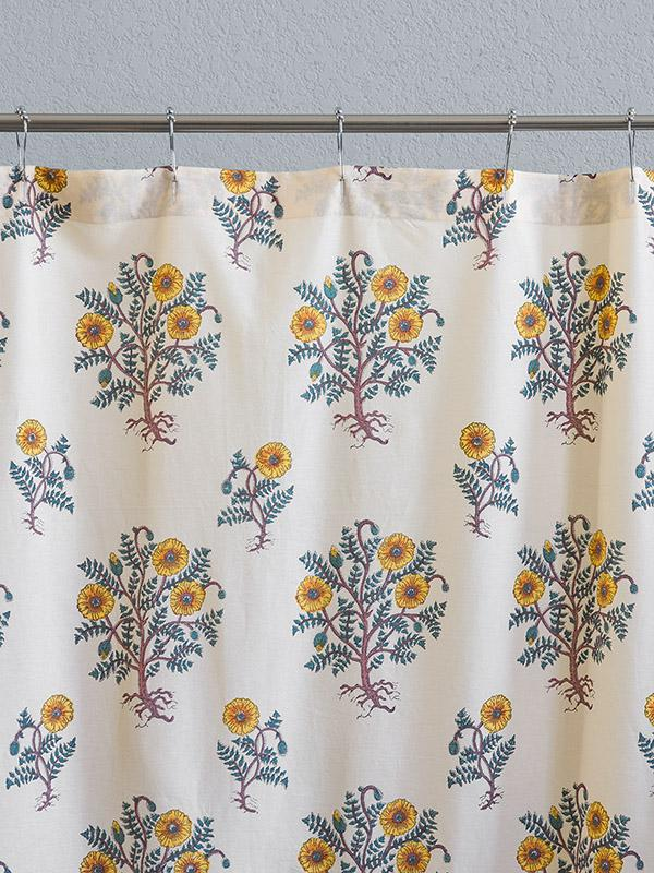 Wild Poppies French Country Yellow Botanical Shower Curtain Saffron Marigold