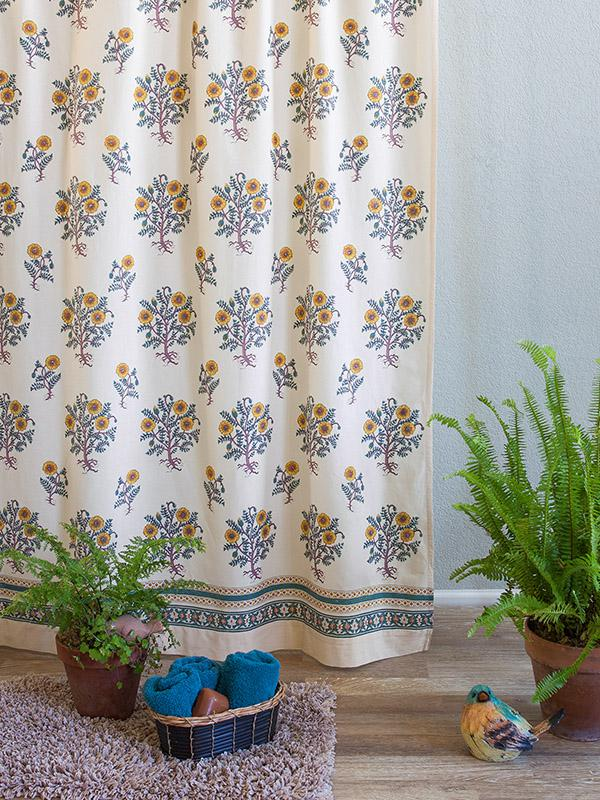Wild Poppies French Country Yellow Botanical Shower Curtain