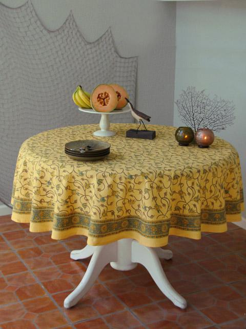 Floral Yellow Round Tablecloth, Summer Round Tablecloth, Beach Round  Tablecloth | Saffron Marigold