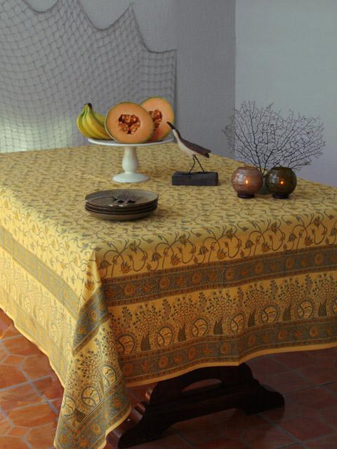 Fl Yellow Tablecloth Summer Beach Cotton Saffron Marigold