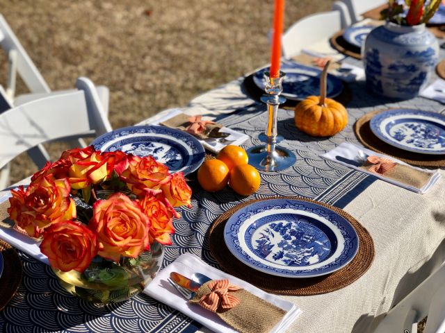 blue Thanksgiving table runner with orange accents