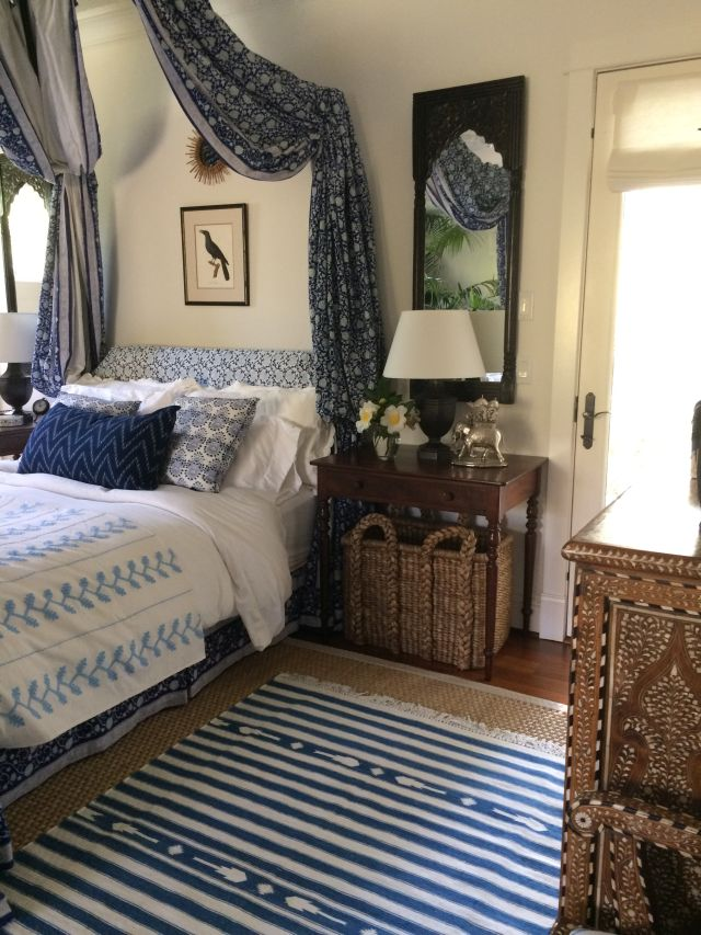 blue and white bedroom with Indian decor