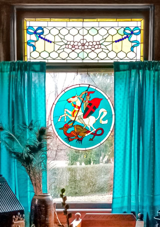 stained glass window, teal curtains, peacock feathers, bohemian home decor