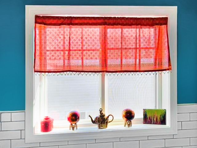 example of a sheer valance with beads