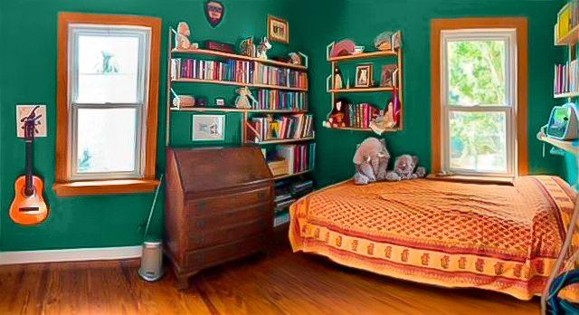 orange bed in green room