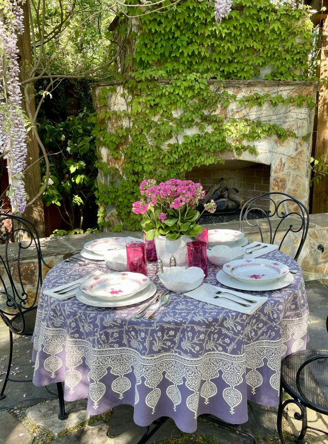 French country bistro table and tablecloth